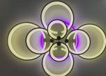 Светодиодная люстра ROUND 4+4 GRAY с цветной LED  подсветкой