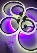 Светодиодная люстра ROUND 4+2 BLACK с цветной LED  подсветкой